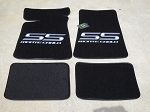 Carpeted Floor Mats with Gray Monte Carlo SS Logo- Black Mats 250
