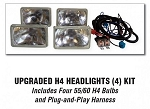 Upgraded H4 Headlights (4) Kit
