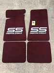 Carpeted Floor Mats with Gray Monte Carlo SS Logo- Maroon Mats 250