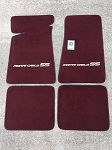 Carpeted Floor Mats with Gray Outlined Monte Carlo SS Logo- Maroon Mats 251