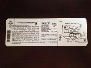 1987 Emission Routing Decal
