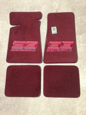 Carpeted Floor Mats - Large Red Monte Carlo SS Logo on Maroon (Free Shipping)