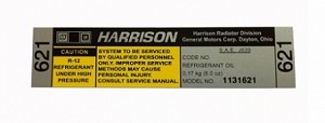 GM Licensed - Reproduction Harrison Air Conditioner Compressor Decal (Free Shipping)