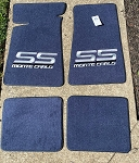 Carpeted Floor Mats - Blue with Large Gray Monte Carlo SS Logo